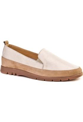 Cabani Bağcıksız Simli Esnek Taban Günlük Kadın Ayakkabı Bej