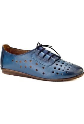 Cabani Lazerli Comfort Günlük Kadın Ayakkabı Mavi Deri