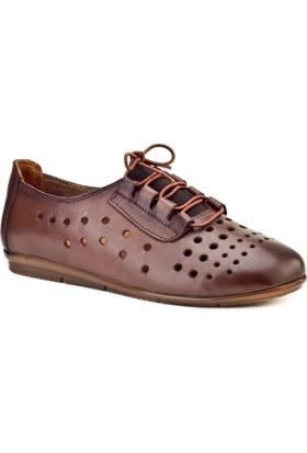 Cabani Lazerli Comfort Günlük Kadın Ayakkabı Taba Deri