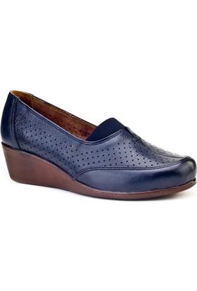 Cabani Dolgu Topuk Comfort Günlük Kadın Ayakkabı Lacivert Deri