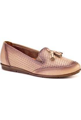 Cabani Fiyonklu Comfort Günlük Kadın Ayakkabı Bej Deri