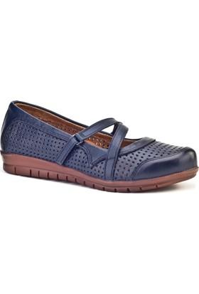 Cabani Cırt Bantlı Comfort Günlük Kadın Ayakkabı Lacivert Deri