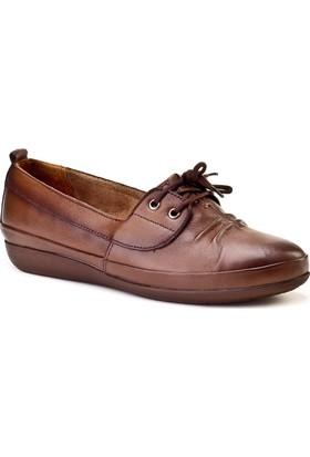 Cabani Bağcıklı Comfort Günlük Kadın Ayakkabı Taba Deri