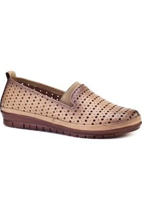 Cabani Streç Detaylı Comfort Günlük Kadın Ayakkabı Bej Deri