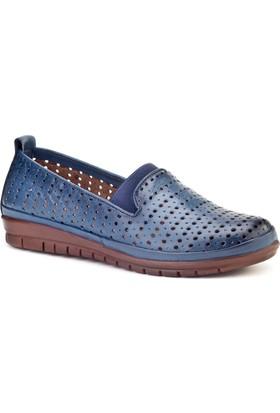 Cabani Streç Detaylı Comfort Günlük Kadın Ayakkabı Mavi Deri