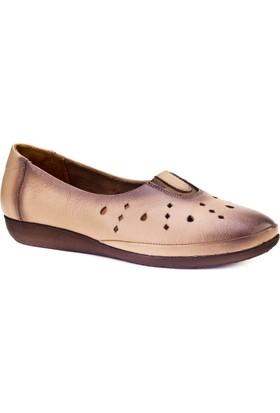 Cabani Streç Detaylı Lazerli Comfort Günlük Kadın Ayakkabı Bej Deri