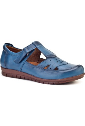 Cabani Cırt Bandlı Comfort Günlük Kadın Ayakkabı Mavi Deri