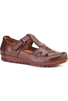 Cabani Cırt Bandlı Comfort Günlük Kadın Ayakkabı Taba Deri
