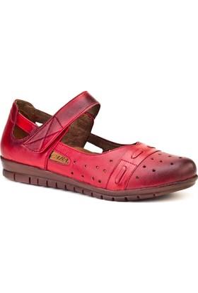 Cabani Cırt Bandlı Comfort Günlük Kadın Ayakkabı Kırmızı Deri