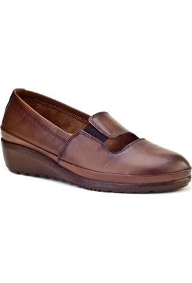 Cabani Streç Detaylı Comfort Günlük Kadın Ayakkabı Taba Deri