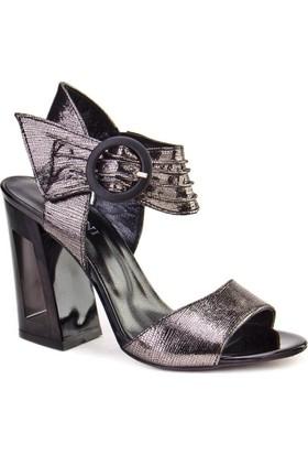Cabani Topuklu Günlük Kadın Sandalet Gri Deri