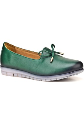 Cabani Günlük Kadın Ayakkabı Yeşil Deri