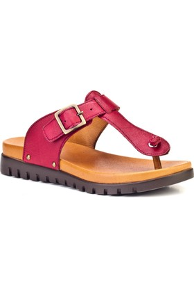 Cabani Günlük Kadın Sandalet Bordo Deri