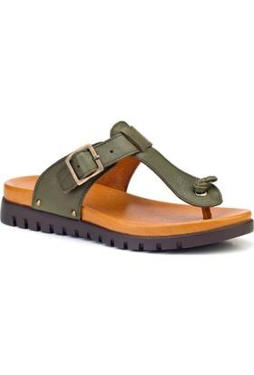 Cabani Günlük Kadın Sandalet Yeşil Deri
