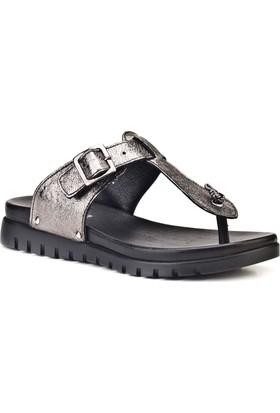 Cabani Günlük Kadın Sandalet Gri Deri