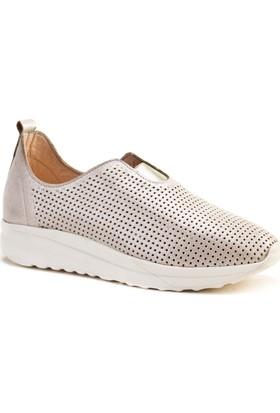 Cabani Lazerli Lgiht Taban Sneaker Kadın Ayakkabı Bej Deri