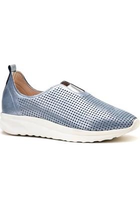 Cabani Lazerli Lgiht Taban Sneaker Kadın Ayakkabı Mavi Deri