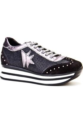 Cabani Bağcıklı Sneaker Kadın Ayakkabı Siyah Deri