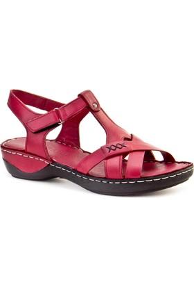 Cabani Tokalı Günlük Kadın Sandalet Bordo Deri