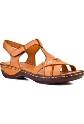 Cabani Tokalı Günlük Kadın Sandalet Taba Deri