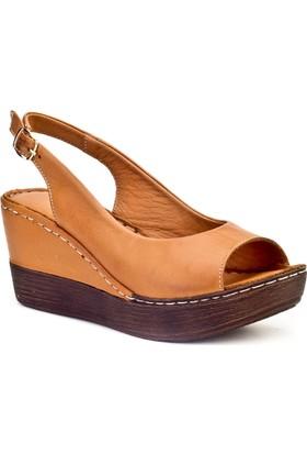 Cabani Günlük Kadın Sandalet Taba Deri