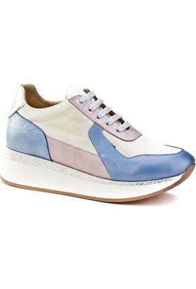 Cabani Bağcıklı Sneaker Kadın Ayakkabı Mavi - Pudra Deri