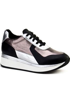 Cabani Bağcıklı Sneaker Kadın Ayakkabı Siyah - Gri Deri