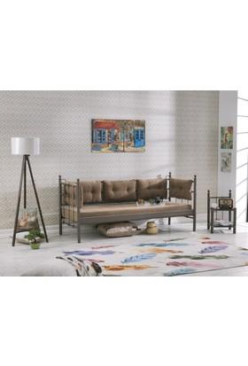Unimet Lalas Metal Sofa Sedir 90x200 Kahverengi-Kahverengi