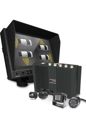 Okul ve Servis Taşıtları İçin 1 TB Kayıtlı WİFİ DVR seti 4 Kamera + Monitör Seti