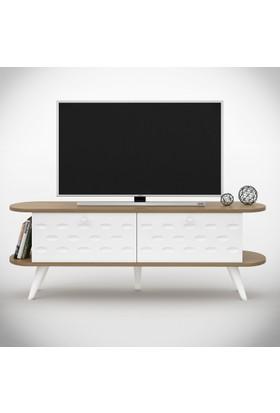 Eyibil Mobilya Buse 140 cm Cnc İşlemeli Tv Sehpası Tv Ünitesi Beyaz Ceviz