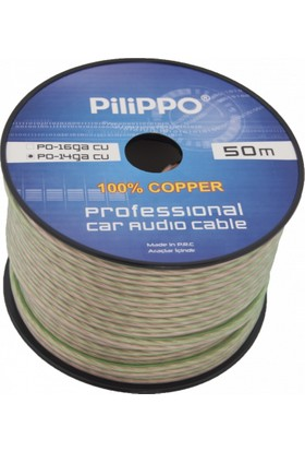 Pilippo PO-14GA 50 M Hoparlör Kablosu %100 Bakır