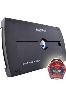 Pilippo PO-940 4 Kanal 1000 Watt Oto Amplifikatör + Kablo seti