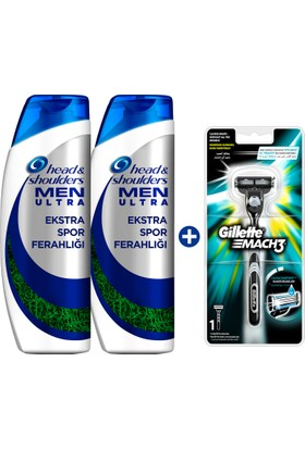 Head & Shoulders Men Ultra Ekstra Spor Ferahlığı Şampuan 2 x 500 ml + Gillette Mach 3 Tıraş Makinesi