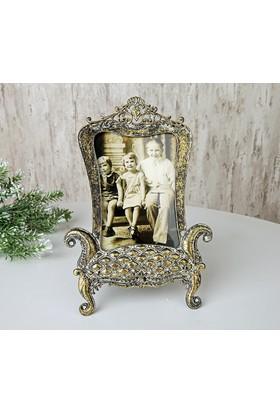 İlgi El Yapımı Eskitme Gold Metal Fotoğraf Çerçevesi