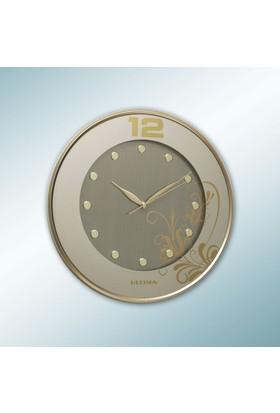 Regal 087 GP İnce Çerçeve Çiçek Baskılı Yaldız Saat
