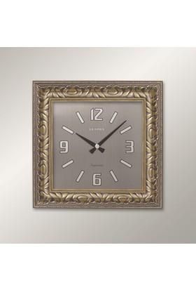 Regal 1352 SS Relief Desenli Gümüş Köşeli Duvar Saati