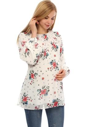 Gör&Sin Çiçek Desenli Hamile Tunik Beyaz
