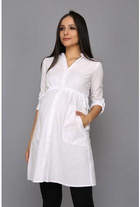 Gör&Sin Uzun Cep Detaylı Hamile Gömlek Beyaz