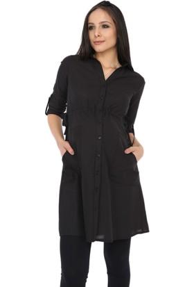 Gör&Sin Uzun Cep Detaylı Hamile Gömlek Siyah