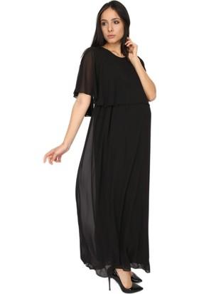 Gör&Sin Uzun Hamile Şifon Elbise Siyah