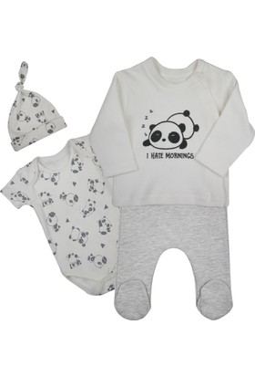 Baby Corner 4'lü Yandan Çıtçıtlı Hırkalı Set Panda