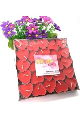 İkbalHome Tealight Mum 25'Li Kalpli Kırmızı