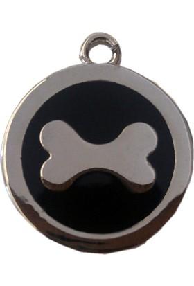 Markapet Kemik Desenli Kedi Köpek İsimlik Aksesuar 2,5 Cm Siyah