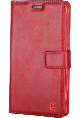 Case 4U Samsung Galaxy A8 Plus Gizli Mıknatıslı Cüzdan Delux Kılıf - Kırmızı
