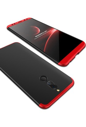 Case 4U Huawei Mate 10 Lite 360 Derece Korumalı Tam Kapatan Koruyucu Kılıf Siyah-Kırmızı