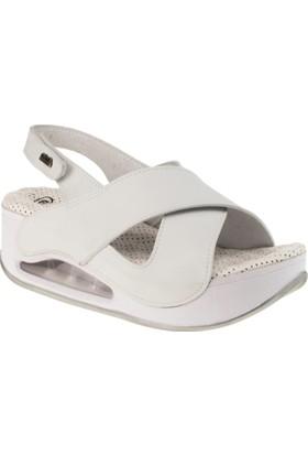 Muya 28287 Yüksek Topuk Tek Cirt Beyaz Kadın Sandalet