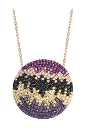 Paljewelry Yuvarlak Renkli Taşlı Kolye