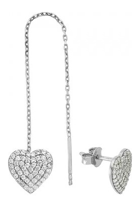 Paljewelry Farklı Çift Kalp Küpe