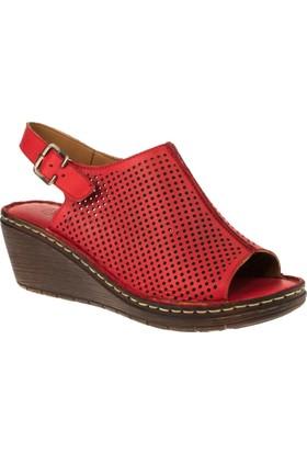 Stella 18057 Tek Bant Günlük Kırmızı Kadın Sandalet