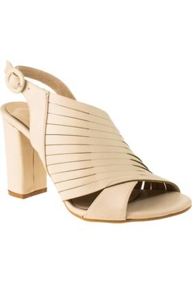 Stella 18144 Yüksek Topuk Krem Kadın Ayakkabı